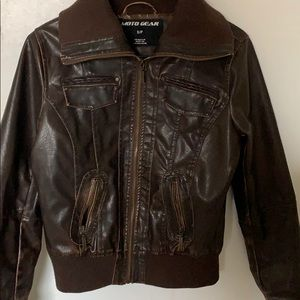 Brown leather jacket!